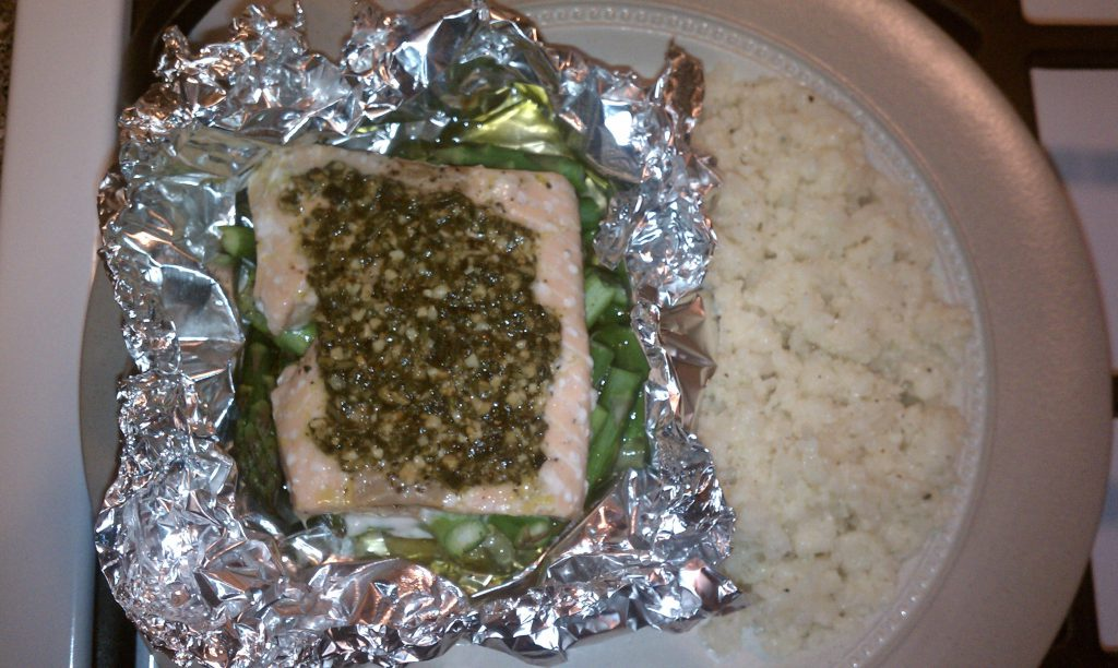 Mustardy Salmon In A Packet With Asparagus Recipe — Dishmaps