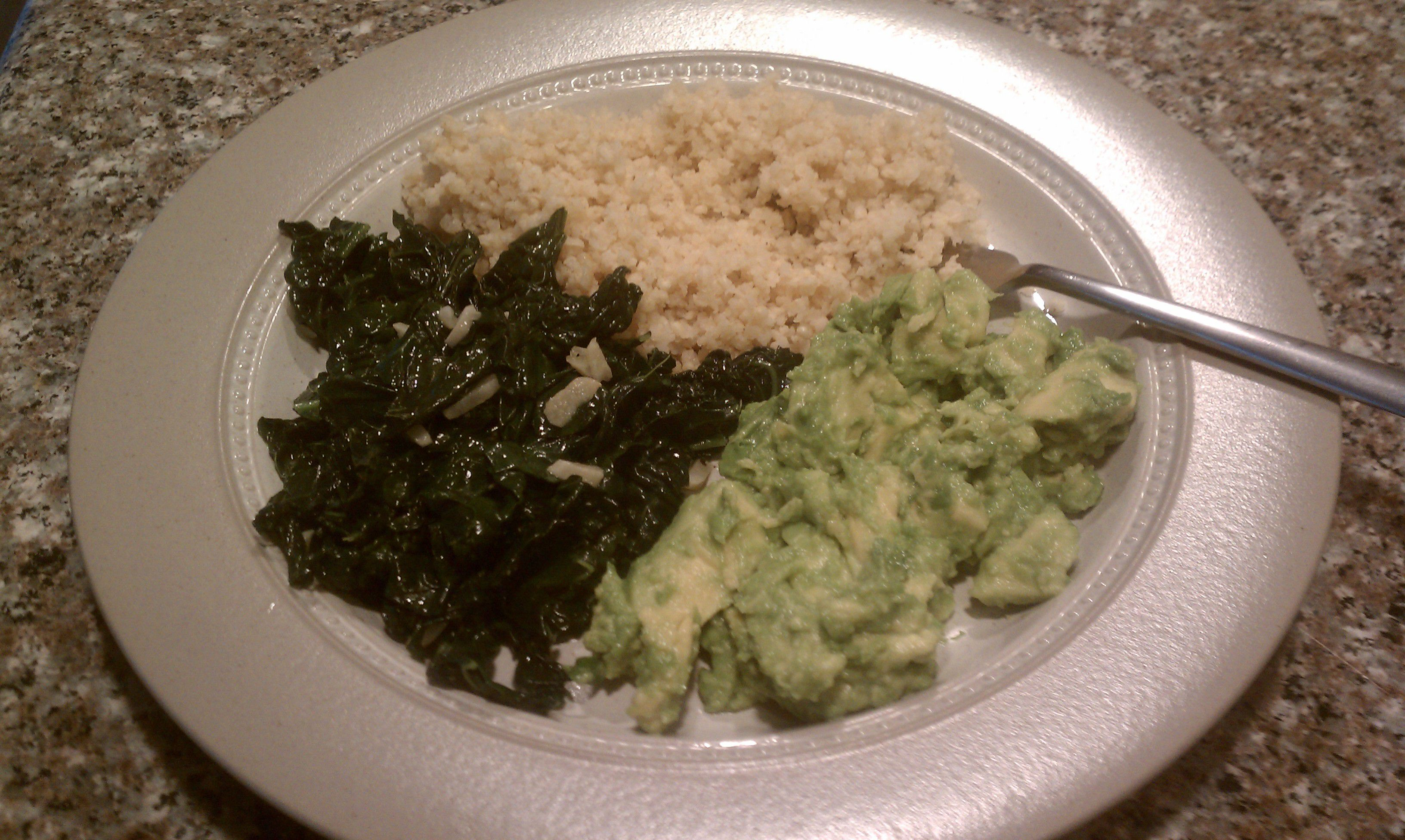Avocado Mash With Quinoa and Sauteed Greens