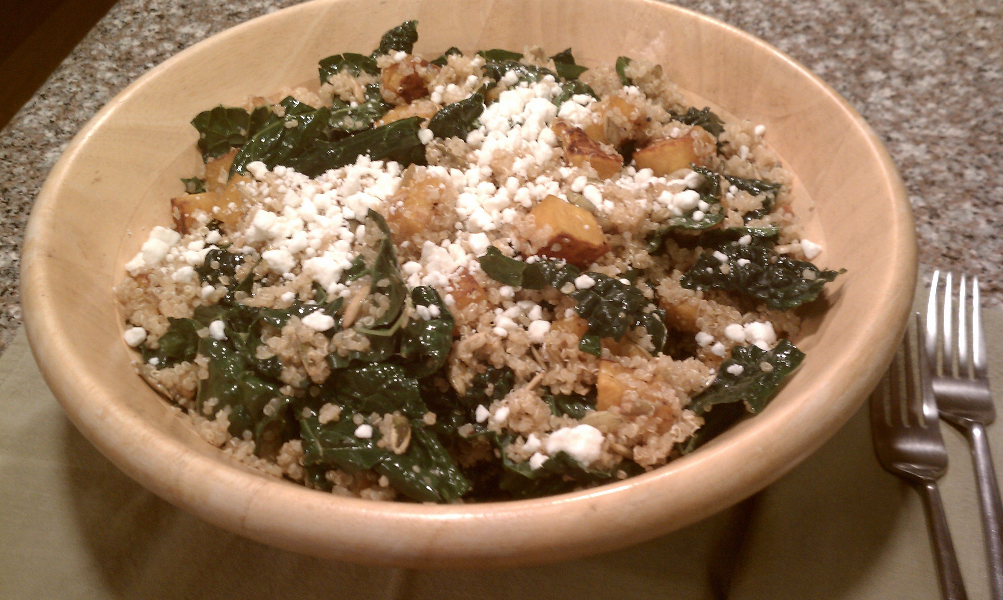 Warm Roasted Butternut Squash, Quinoa and Kale Salad + Crumbled Goat Cheese