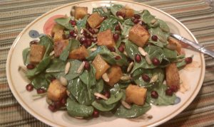 Spinach Salad with Pomegranate, Butternut Squash and Roasted Pepitas-Recipe