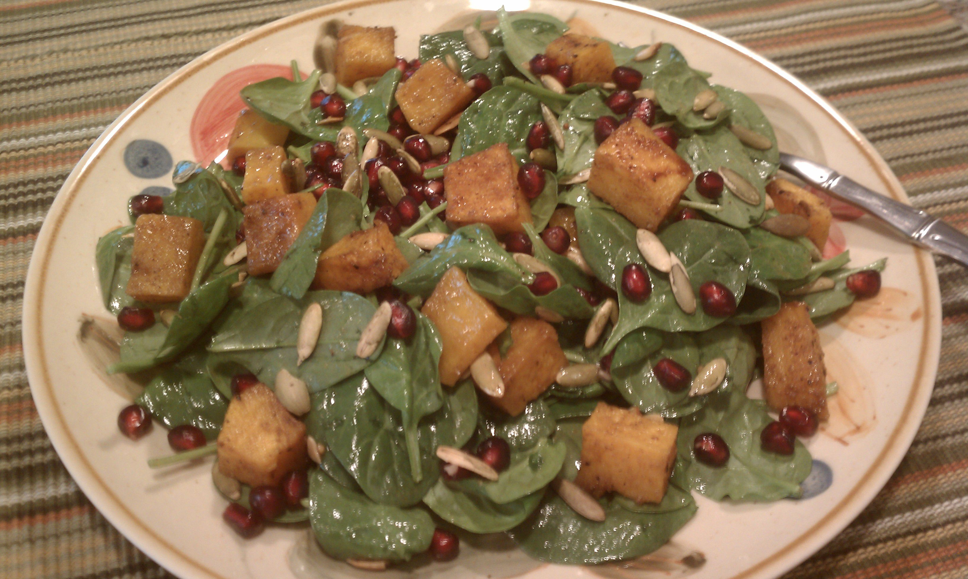 Spinach Salad with Pomegranate, Butternut Squash and Roasted Pepitas